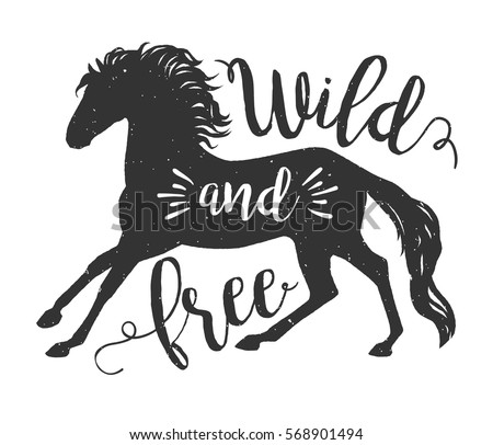 Vector Running Horse Silhouette With Text Inspirational Illustration Design For Print Banner Poster