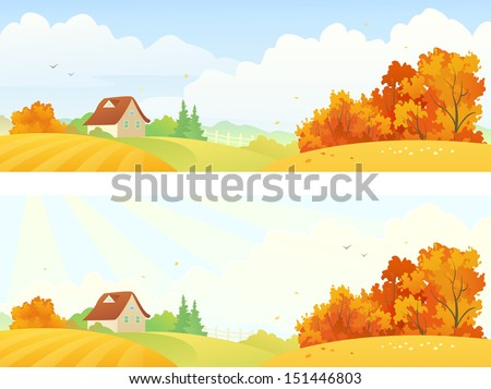 vector rural autumn banners