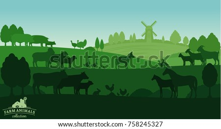 Vector rural landscape with farm animals and windmill