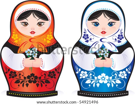 Vector. Russian beauty matreshka