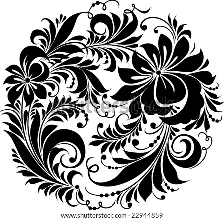 "Vector. Russian traditional ornament ""Hohloma"" - stock vector"