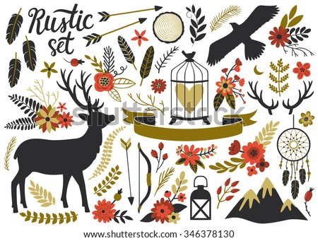 vector rustic set with deer