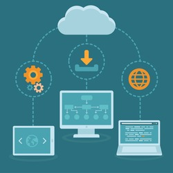 Vector SaaS concept in flat style - software as a service business model - cloud computing