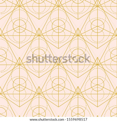 Vector sacred geometry pyramid shape seamless pattern. Mono line grid, minimal ornament, modern abstract linear simple background. Fashion mystery signs. Alchemy, astrology, esoteric, hipster symbols.