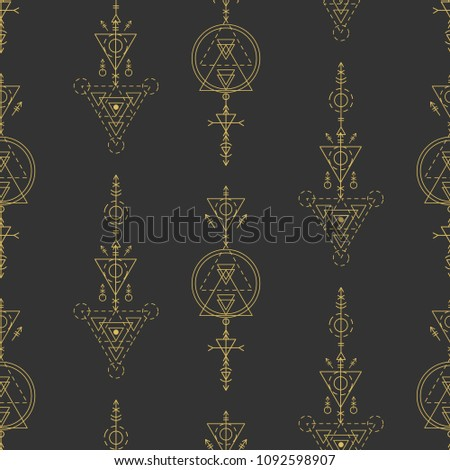 Vector sacred geometry seamless pattern. Aztec mystery signs background. Alchemy, astrology, esoteric, hipster symbol. Vector t shirt print, apparel, textile, fabric, wrapping paper, wallpaper.