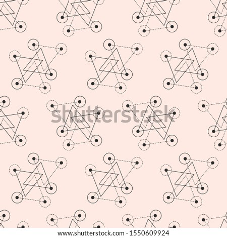 Vector sacred geometry seamless pattern. Mono line grid, minimal ornament, modern abstract linear simple background. Fashion Aztec mystery signs. Alchemy, astrology, esoteric, hipster symbols.