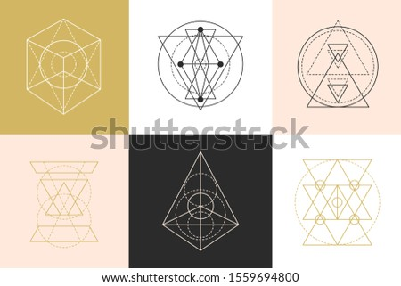 Vector sacred geometry shapes logotype designs set. Mono line minimal emblem, elegant modern abstract linear simple logo. Fashion Aztec mystery signs. Alchemy, astrology, esoteric, hipster symbols.