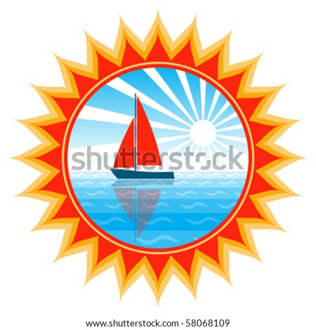 vector sailboat on sea in sun on white background