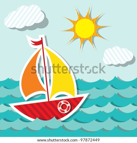 Vector sailing boat sticker floating on paper water. Sea transport. Eps 10