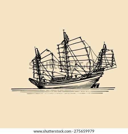 Vector sailing chinese junk ship in the sea in ink line style Hand sketched chinese junk
