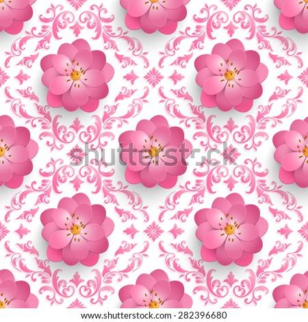 stock vector vector sakura flower seamless pattern background elegant texture for backgrounds d elements with 282396680 - Каталог — Фотообои «3D Текстуры»