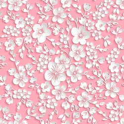 Vector sakura flower seamless pattern element. Elegant texture for backgrounds. 3D elements with shadows and highlights. Paper cut. Cherry blossom
