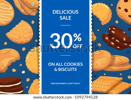 Vector sale background with with cartoon cookies