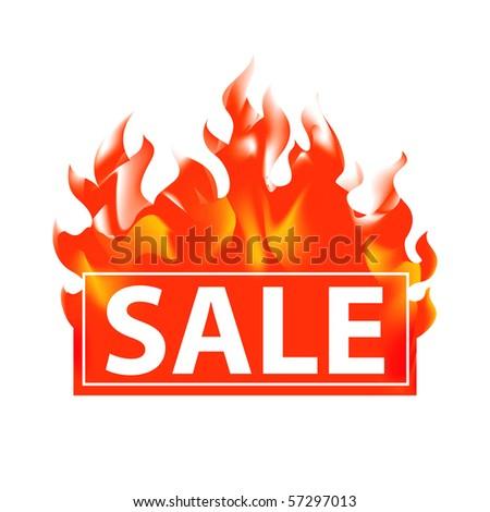 Vector sale in fire.
