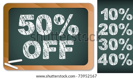 Vector - Sale Percentages on Blackboard with Chalk. Other percentages in my portfolio.