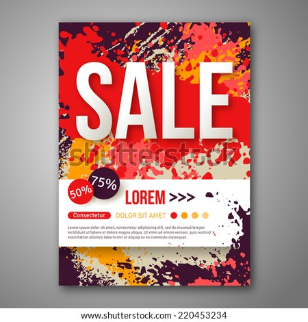 Vector sale poster template with watercolor paint splash for Abstract posters for sale