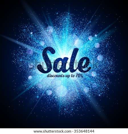 vector sale sign on blue