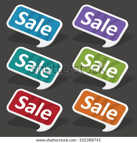 Vector sale speech bubbles set. Transparent shadow easy replace background and edit colors.