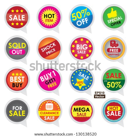 Vector : Sale Sticker, With Hot Item, Special Offer, Sold Out, Shock Price, Big Sale, Free Shipping, Best Buy, Buy 1 Get 1 Free, For Sale, Clearance Sale, Mega Sale, Hot Sale  Isolated on White