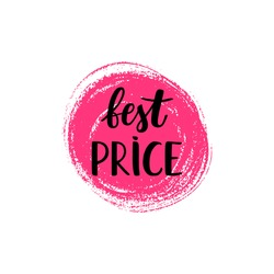 Vector sale tag on a bright paint blot background. Best price lettering