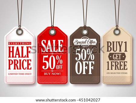 Vector Sale Tags Design Collection Hanging with Different Colors for Store Promotions in White Background. Vector Illustration.