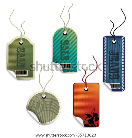 Vector sale tags with curled corner
