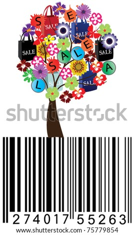 vector sale tree with bar-code