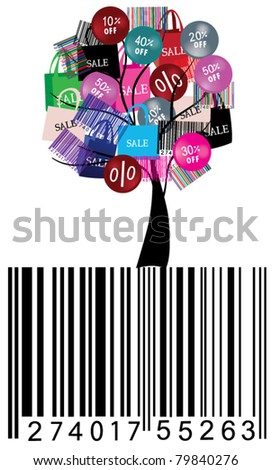 vector sale tree with bar code