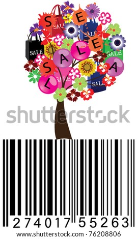 vector sale tree with shopping bags and bar-code