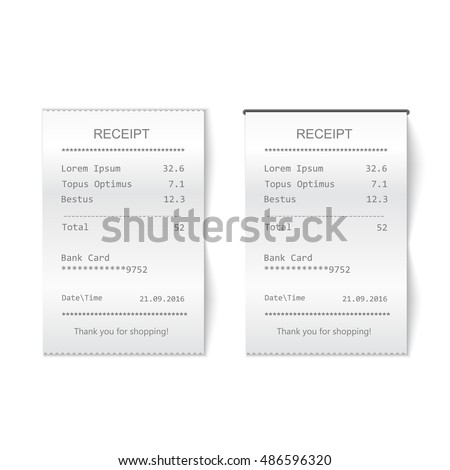 Vector sales printed receipt. Bill atm template, cafe or restaurant paper financial check Realistic vector illustration