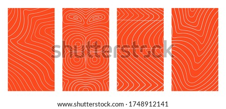 Vector salmon fillet and fish steak texture. Set of vertical backgrounds, banners, social stories