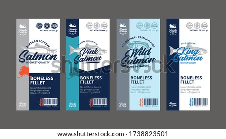 Vector salmon vertical labels. Wild, chinook, sockeye, and pink salmon fish illustrations. Seafood labels for groceries, fisheries, packaging, and advertising