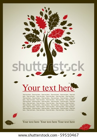 Vector sample of design with decorative oak tree from colorful autumn leafs and place for text. Thanksgiving