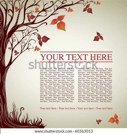 Vector sample of design with decorative tree from colorful autumn leafs and place for text. Thanksgiving