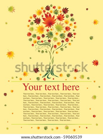 Vector sample of design with decorative tree from colorful autumn leafs. Thanksgiving