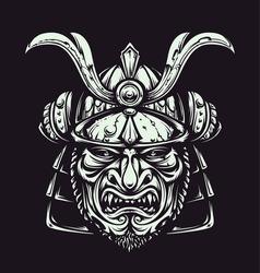 Vector samurai mask. Japanese traditional martial mask. Vector illustration.