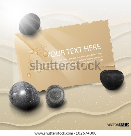 Vector sand and paper card background with stones.