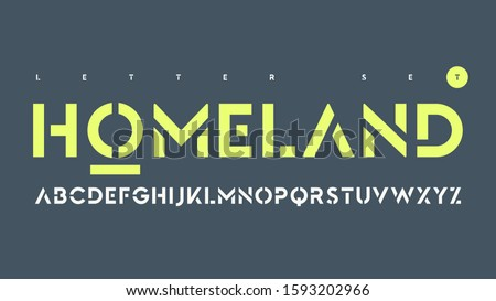 Vector sans serif urban stencil letter set, cropped alphabet.
