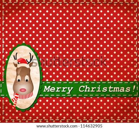 vector Santa Claus Deer vintage Christmas card