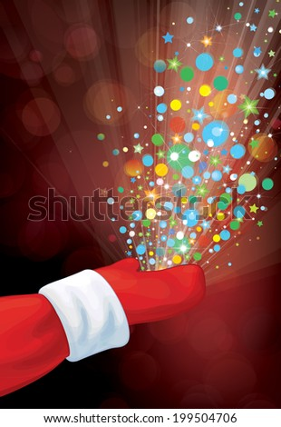 Vector Santa Claus hand with colorful lights and stars on red bokeh background.