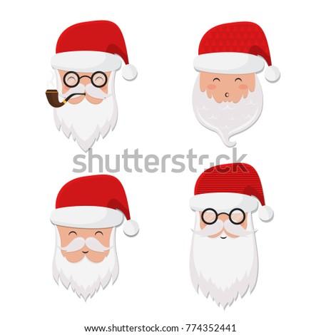 Vector santa claus set hat glasses pipe and beard hipster santa vector santa claus set hat glasses pipe and beard hipster santa m4hsunfo