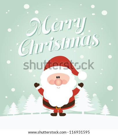 Vector Santa Claus wave Vector illustration for retro christmas card Snow landscape background with christmas trees and santa