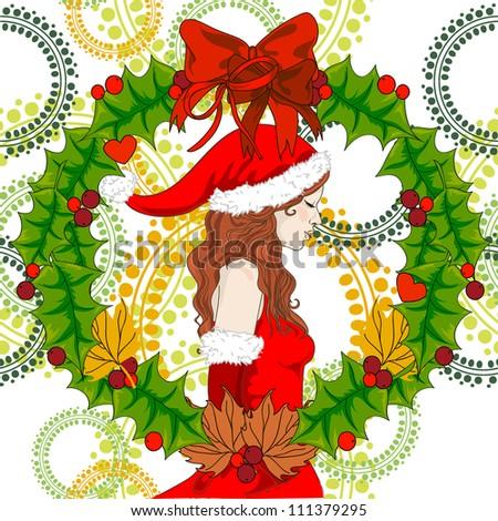 Vector Santa girl with christmas garland