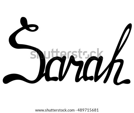 vector sarah name lettering