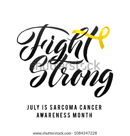 Vector Sarcoma Cancer Awareness Calligraphy Poster Design. Stroke Yellow Ribbon. July is Cancer Awareness Month.