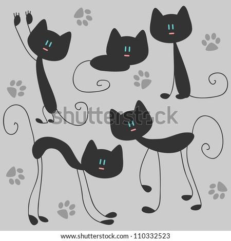Vector sat of funny cute cats