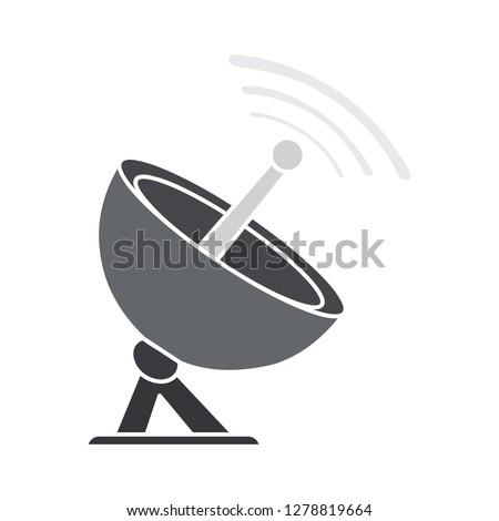 vector satellite icon-radar symbol-antenna illustration-telecommunication isolated-network symbol-receiver sign
