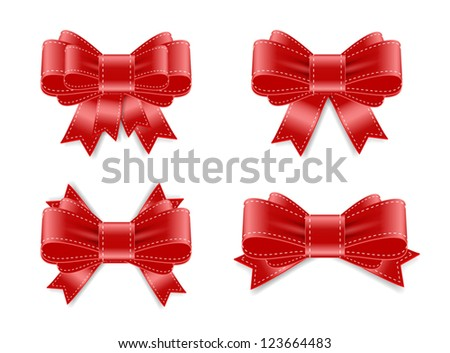 Vector satin ribbon bow knots collection - red