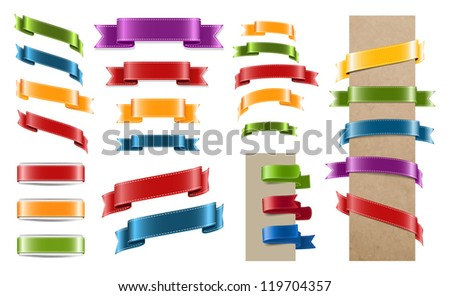 Vector satin ribbon tags collection