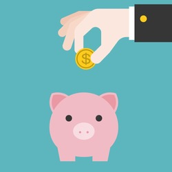 Vector save money in piggy bank, flat design